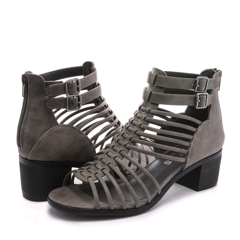 TOETOS-Women-IVY-Summer-Open-Toe-Ankle-Strap-Zipper-Low-Wedge-Block-Heel-Sandals thumbnail 32