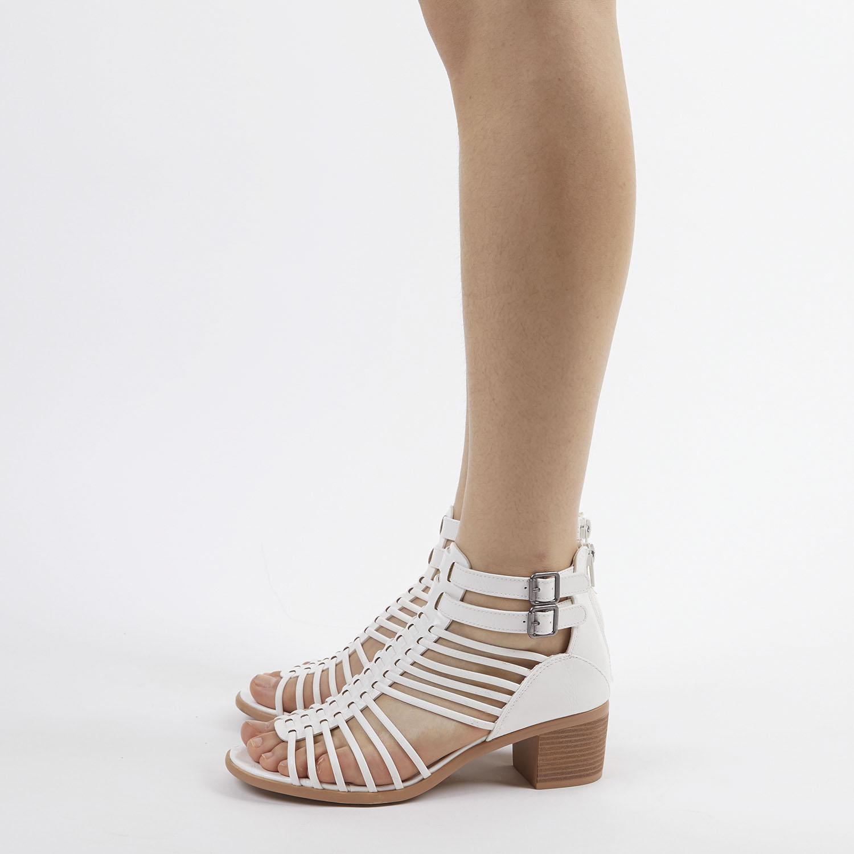 TOETOS-Women-IVY-Summer-Open-Toe-Ankle-Strap-Zipper-Low-Wedge-Block-Heel-Sandals thumbnail 47