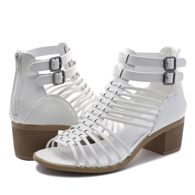 TOETOS-Women-IVY-Summer-Open-Toe-Ankle-Strap-Zipper-Low-Wedge-Block-Heel-Sandals thumbnail 46