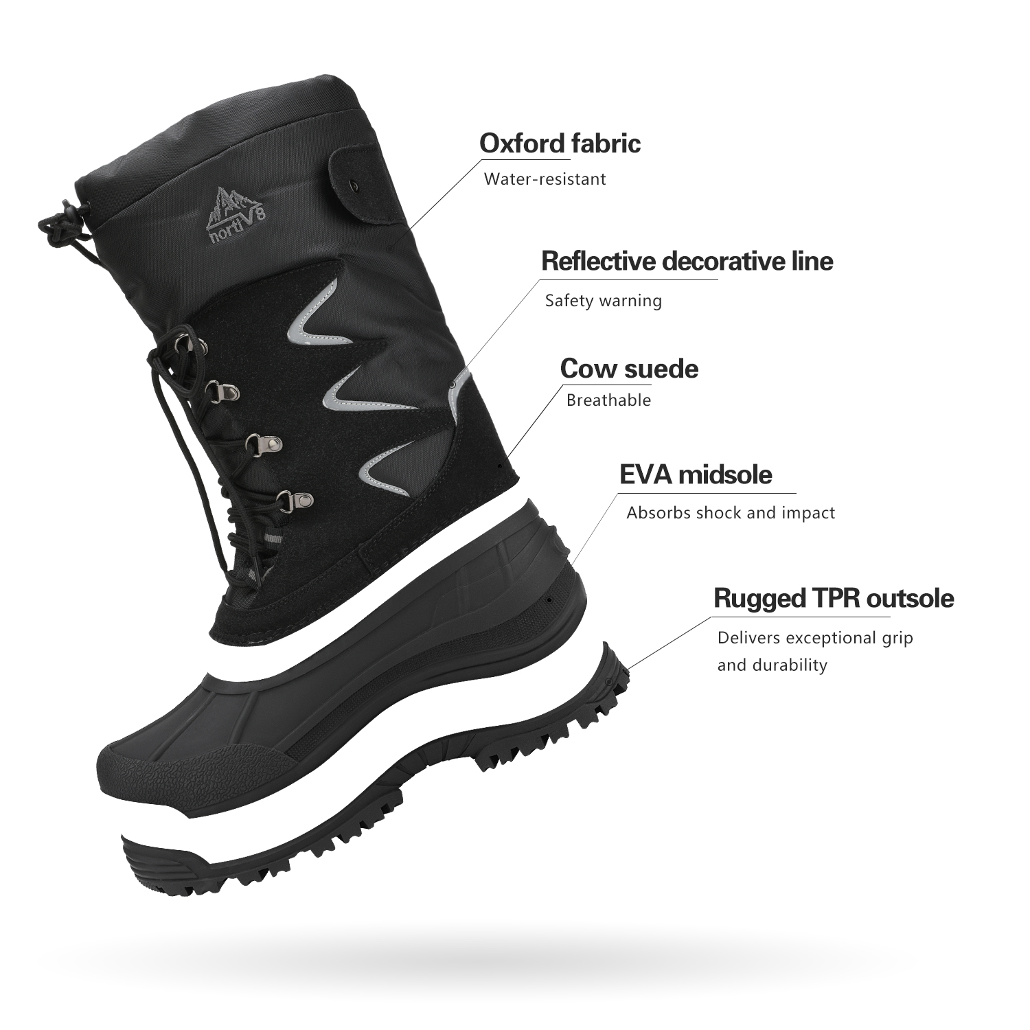 NORTIV-8-Men-039-s-Winter-Snow-Boots-Waterproof-Warm-Thermolite-Outdoor-Hiking-Boots thumbnail 14