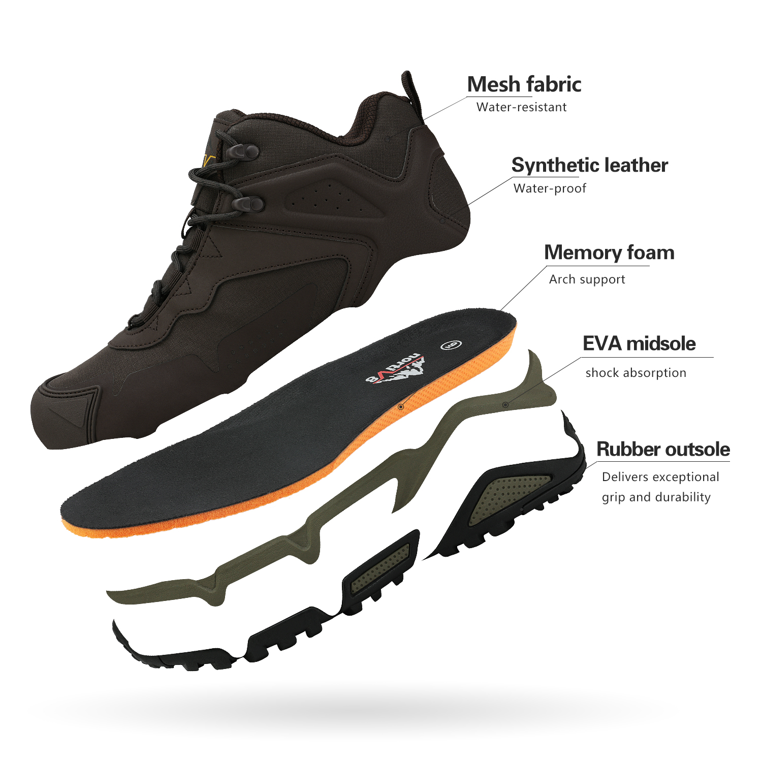 NORTIV-8-Men-039-s-Ankle-Waterproof-Hiking-Boots-Lightweight-Backpacking-Work-Shoes thumbnail 12
