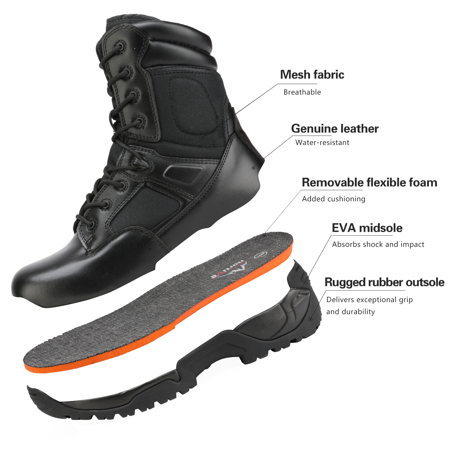 Men-039-s-Military-Tactical-Work-Boots-Hiking-Motorcycle-Combat-Bootie-New thumbnail 8