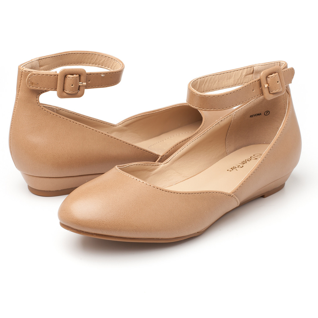 23b7ad0d0c DREAM PAIRS Womens REVONA Soft-Lining Low Wedge Ankle Strap Ballet ...