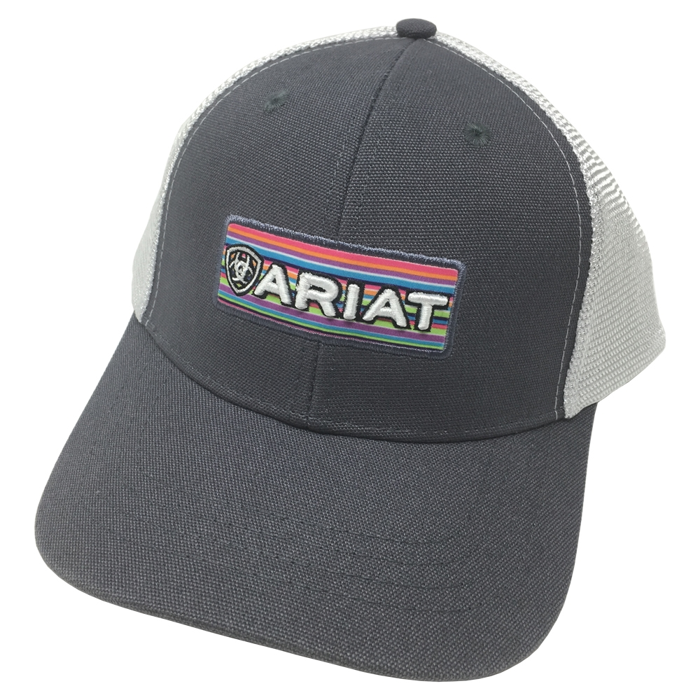 e3d4db4af02 Ariat Brand Womens Grey with Multicolor Logo Patch Snapback Hat ...
