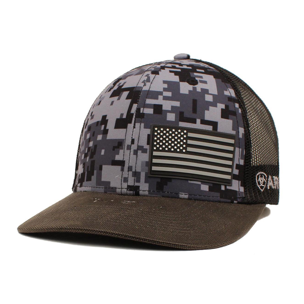 97e3648d41cd9 Details about Ariat Men s Patriot Black Digital Flag Snapback Hat