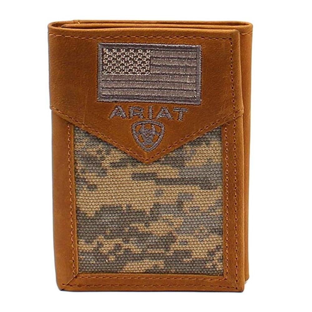 Ariat Men/'s Tri Fold Camo Brown Short Wallet Top Grain Leather A35190156 NWT