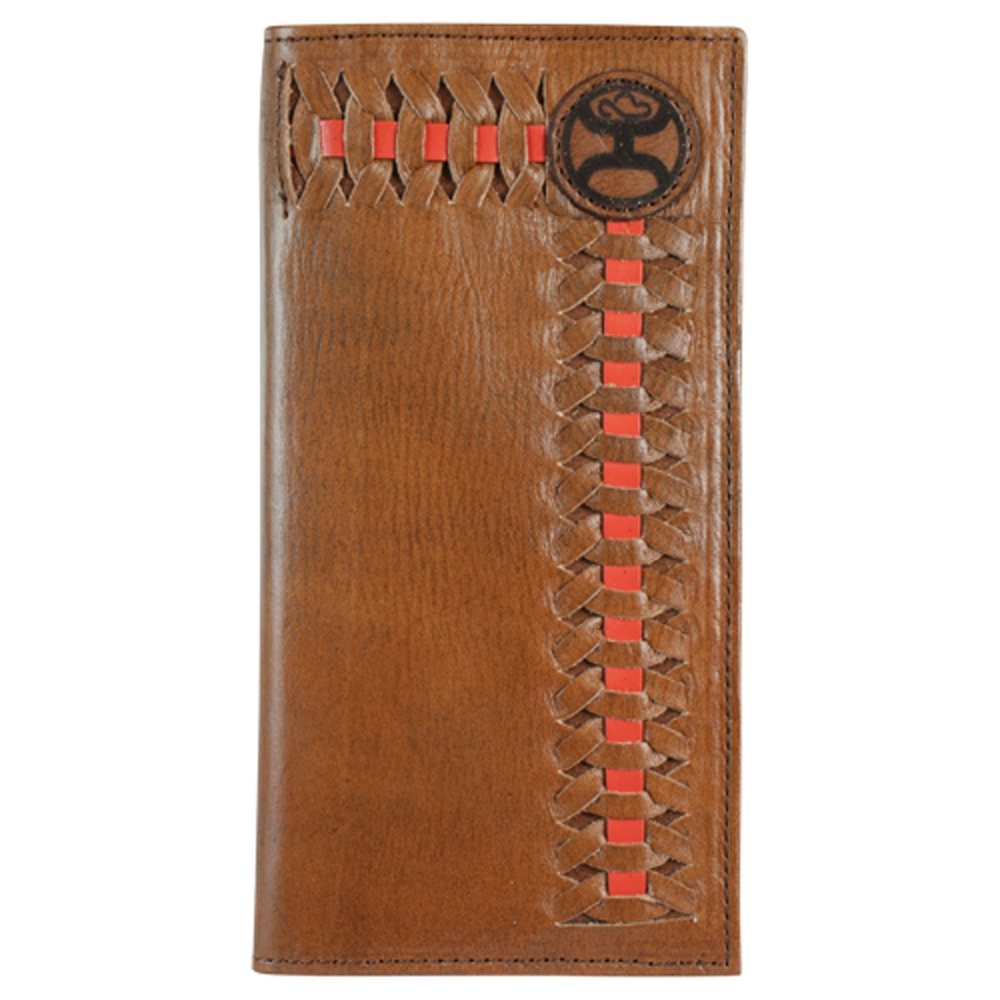 eff1d68484d6 Details about Hooey Signature Red/Brown Interlaced Dark Brown Leather Rodeo  Wallet - 1829137W5