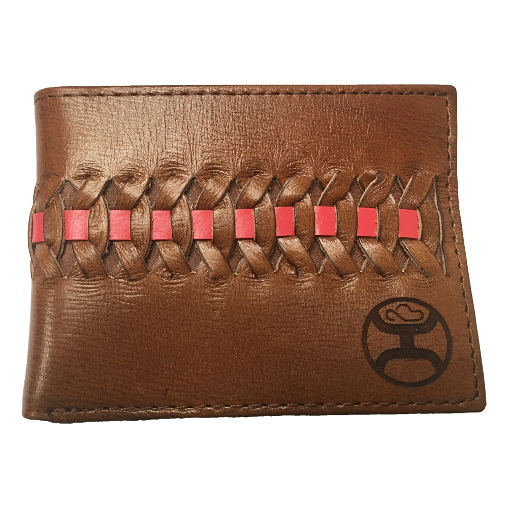 d1aea7982ef4 Details about Hooey Signature Red/Brown Interlaced Brown Leather Bifold  Wallet - 1829161W5