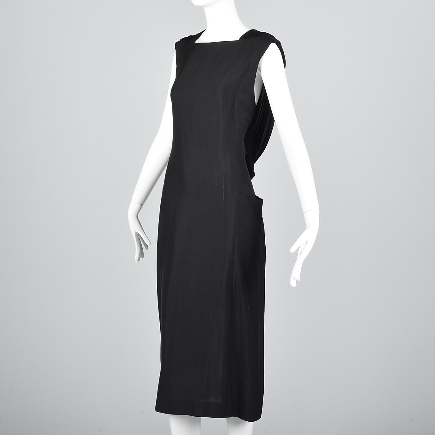 2f336a8cd2c M Chloe Loose Black Linen Simple Summer Dress Sleeveless Shift Vintage 1960s