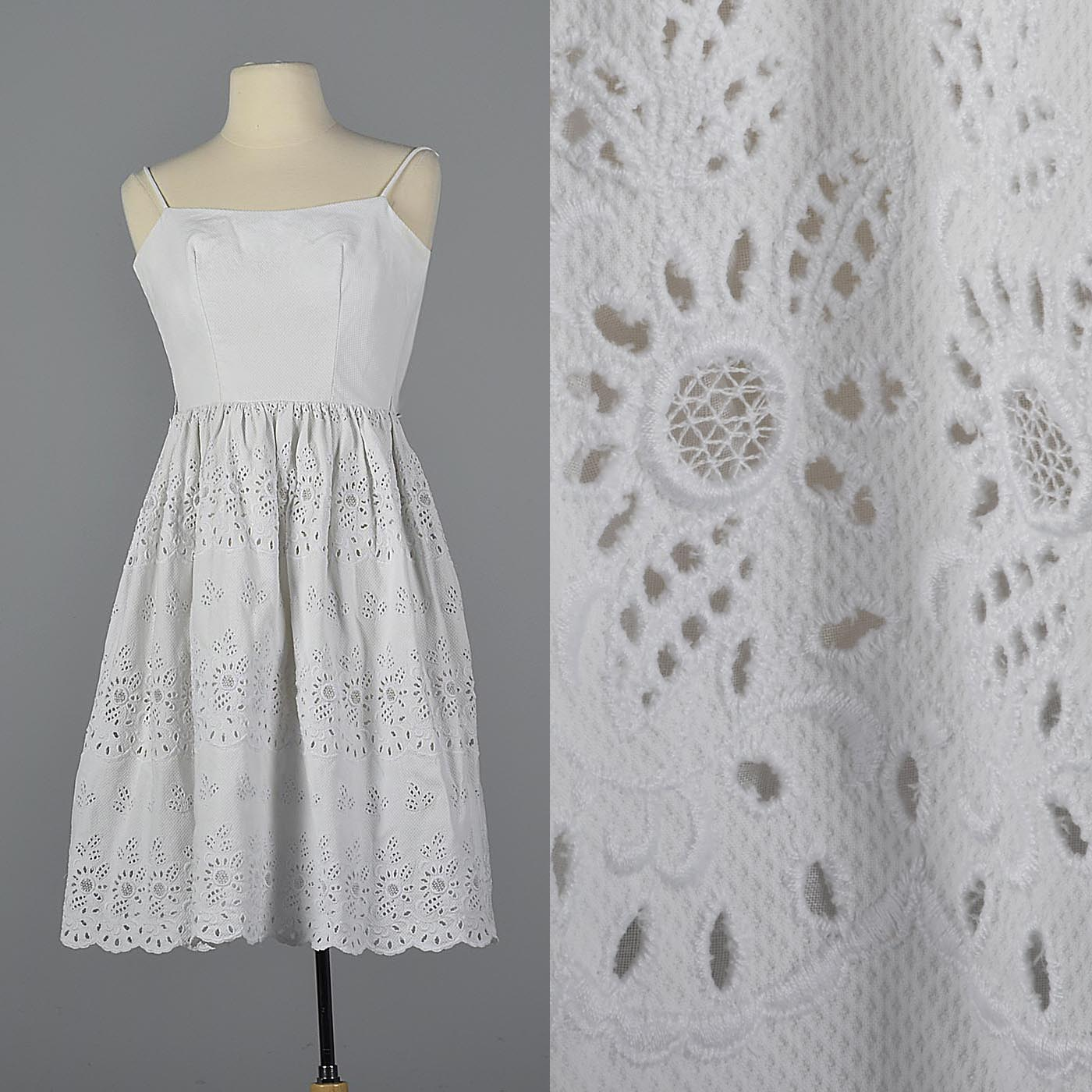 c7f9ee3a9a XXS 1950s Lanz White Eyelet Wedding Dress Fit and Flare Dress Sleeveless  Summer Dress Wasp Waist Hourglass Vintage 50s