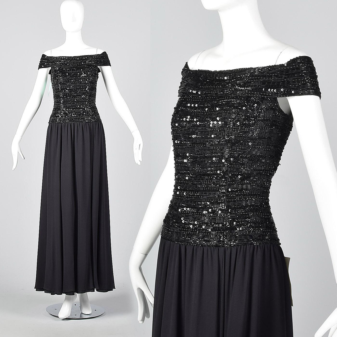 Oleg Cassini Black Tie Summer Evening Dress Elegant Formal Gown ...