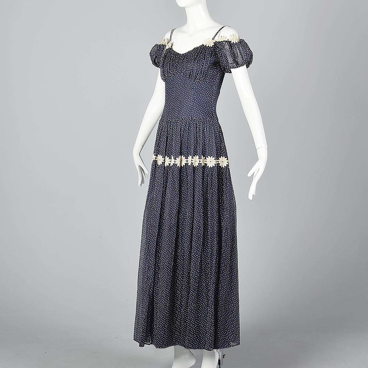 1940s Long Bohemian Day Dress Maxi Off Shoulder Blue Swiss Dot ...