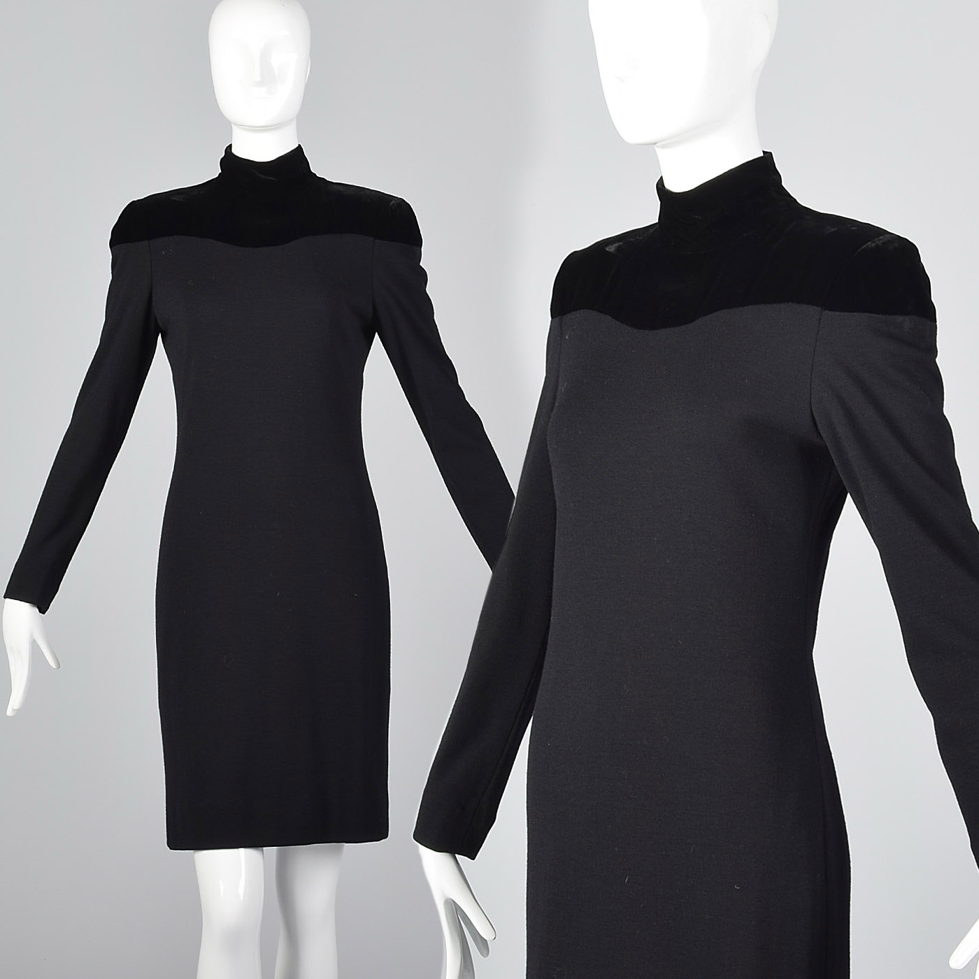 573a1eaa992 Lanvin Tight Sexy Little Black Pencil Dress Long Sleeve LBD Sheath Velvet  Wool. Description  You can t go wrong ...