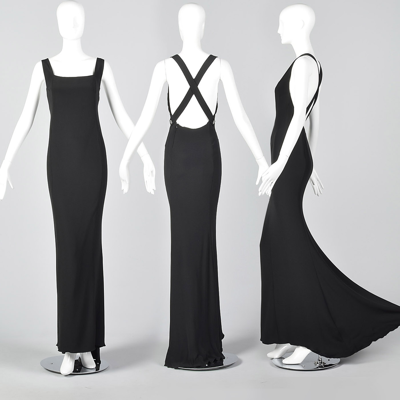 Valentino Boutique Backless Formal Gown Evening Dress Black Silk ...