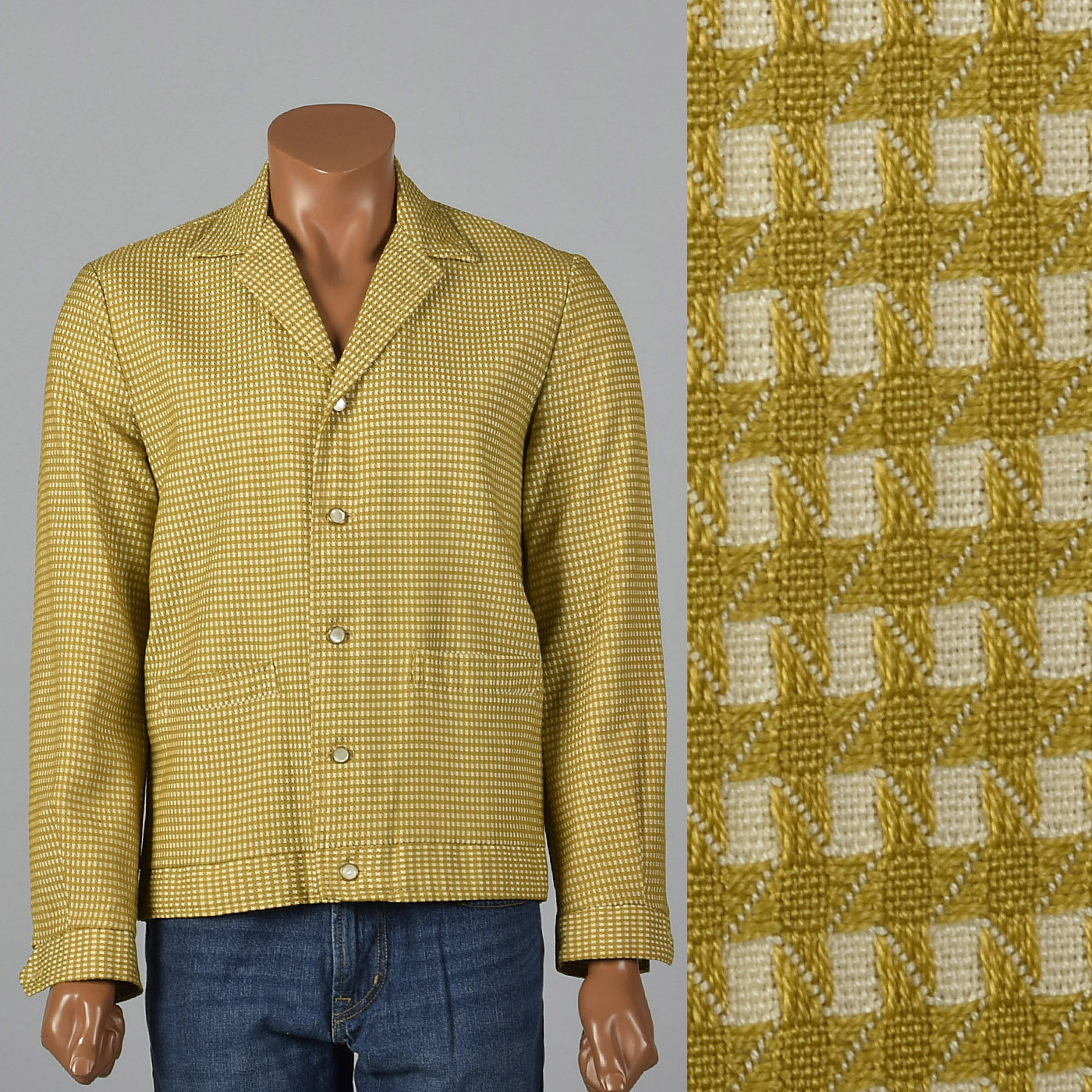 M 1950s Mens Textured Check Jacket Gold Cream Casual Leisure
