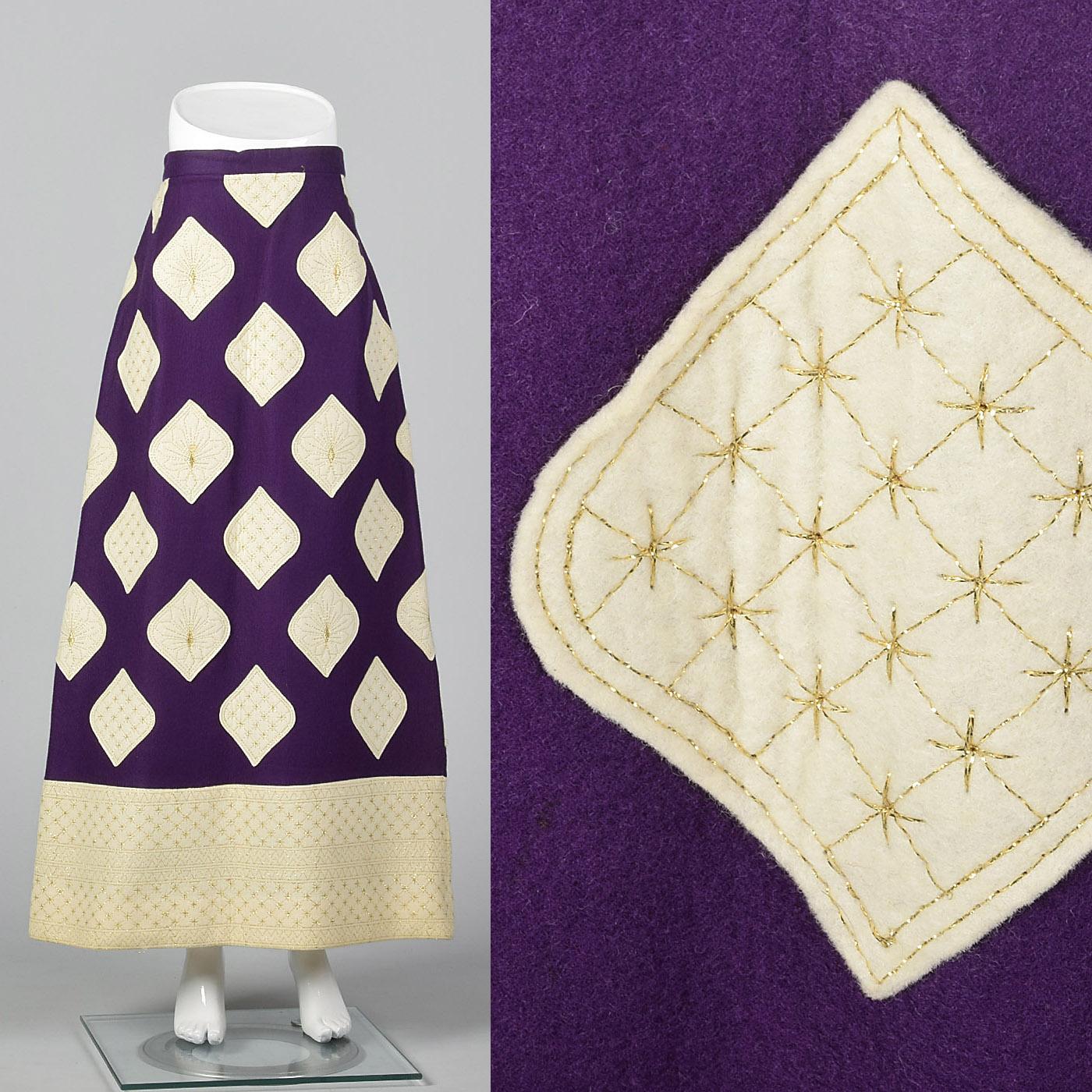 9c72fbb7abcd13 Details about L 1970s Malcolm Charles Maxi Skirt Purple Felt Designer  Separates Op Art Vintage