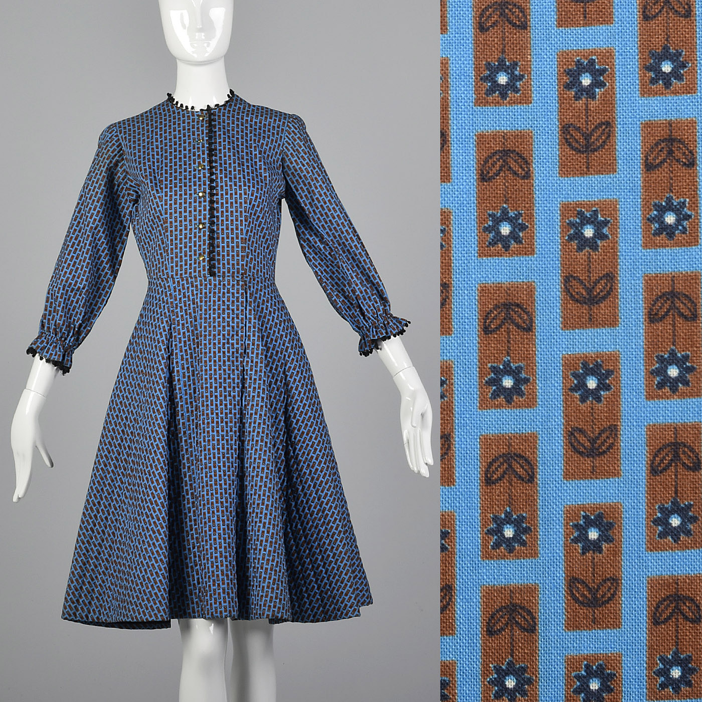 8cd52e1f266 Details about XS 1950s Quilted Blue Cotton Day Dress Casual Simple Vintage  Full Skirt 50s VTG