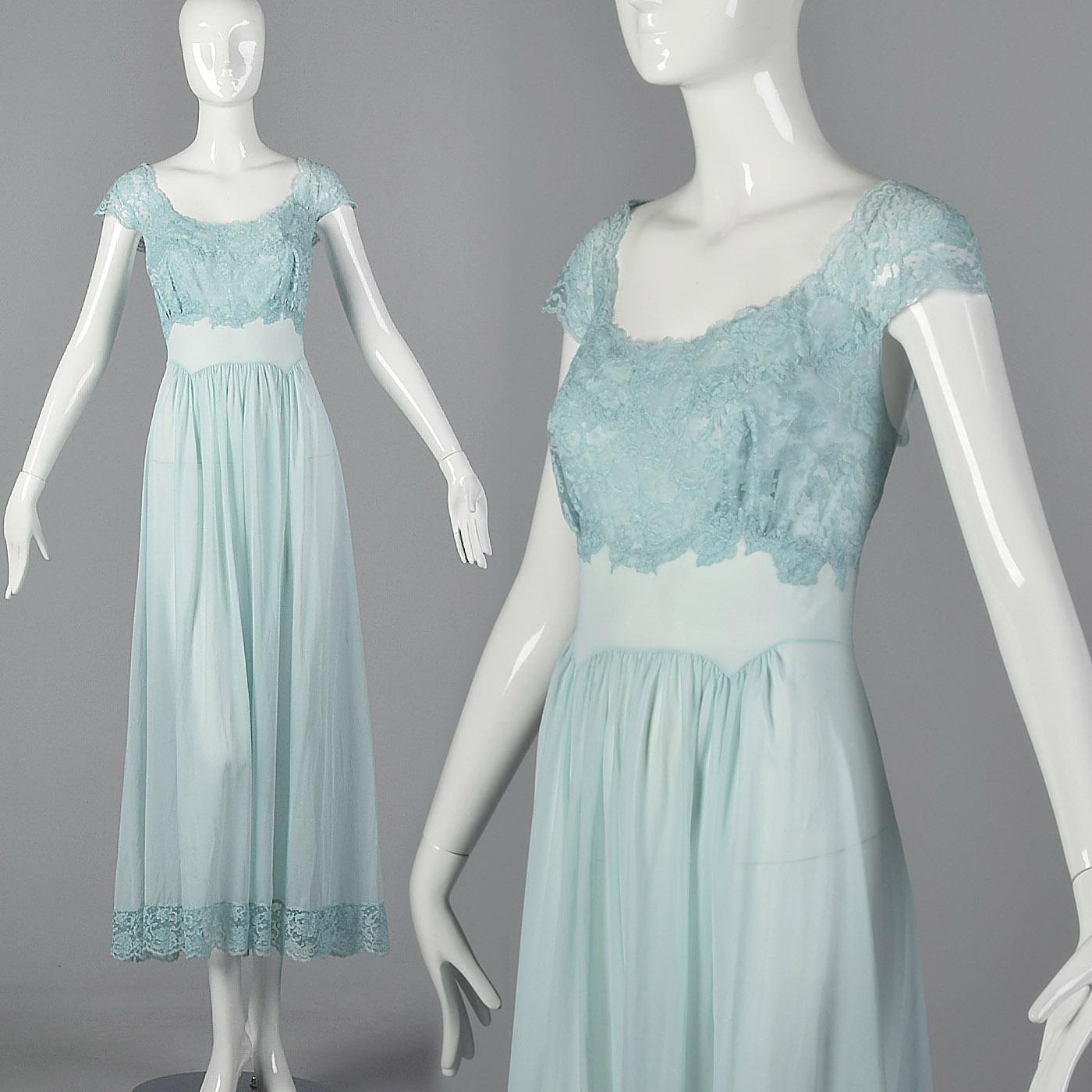 Details about M 1950s Vanity Fair Long Blue Nightgown Lace Shelf Bust  Sleepwear Lounge 50s VTG 252963336