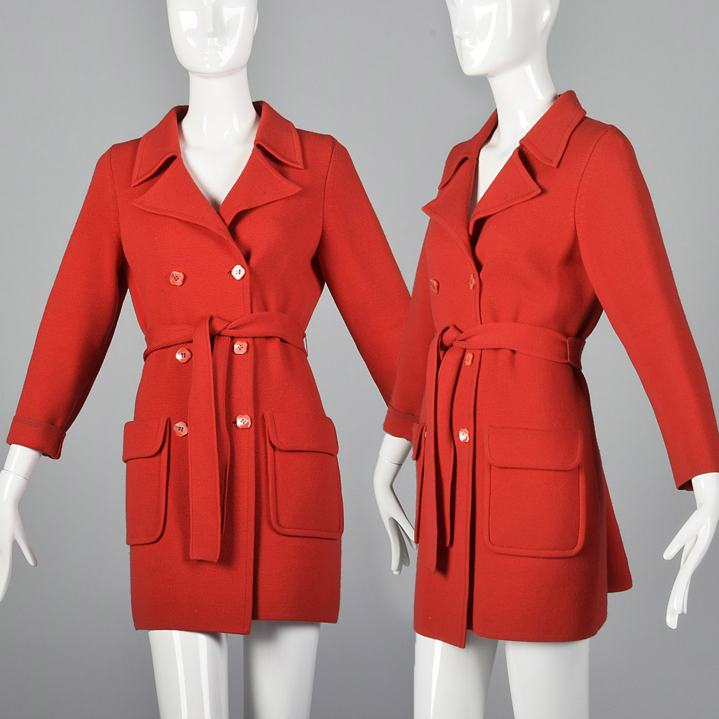 XS Red Knit Cardigan Coat Vintage 1960s Patch Pockets Belted Warm Fall Jacket