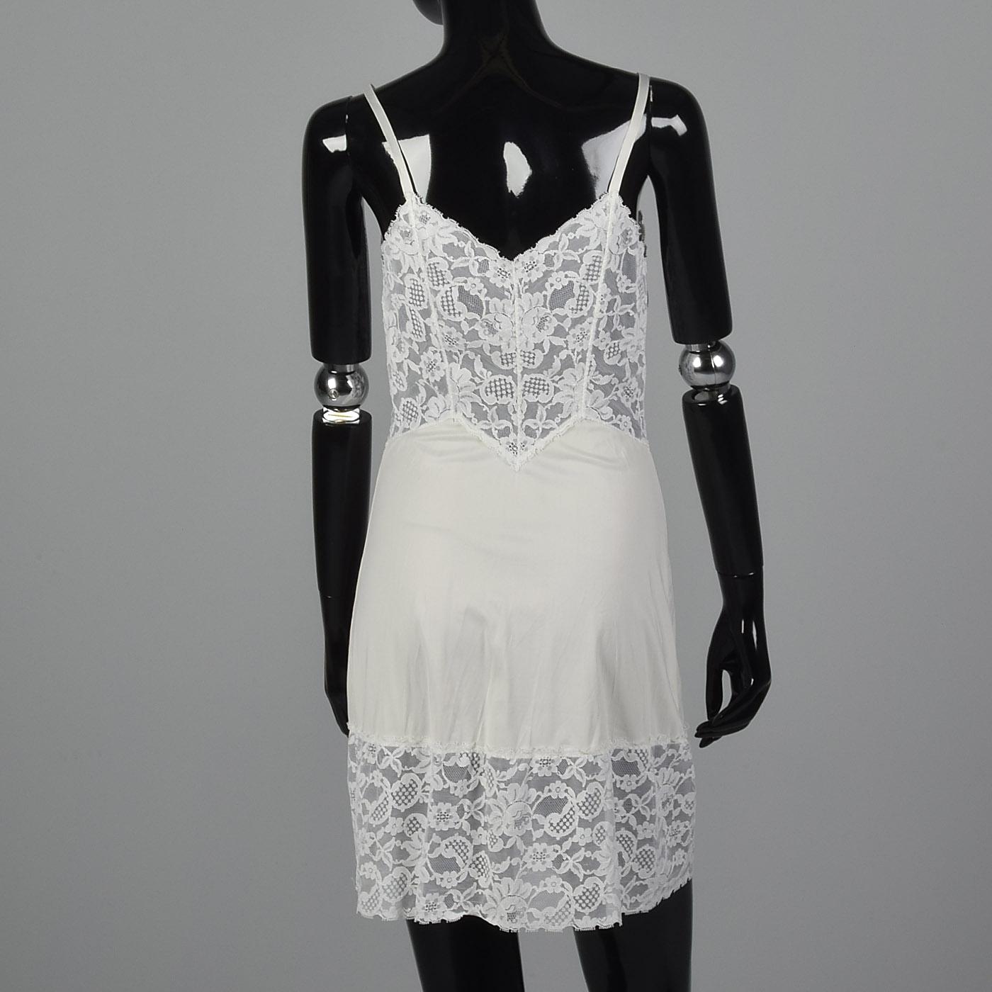 XXS 1960s White Nylon Slip Floral Lace Trim VTG 60s Adjustable Straps Lingerie Vintage Slips & Petticoats