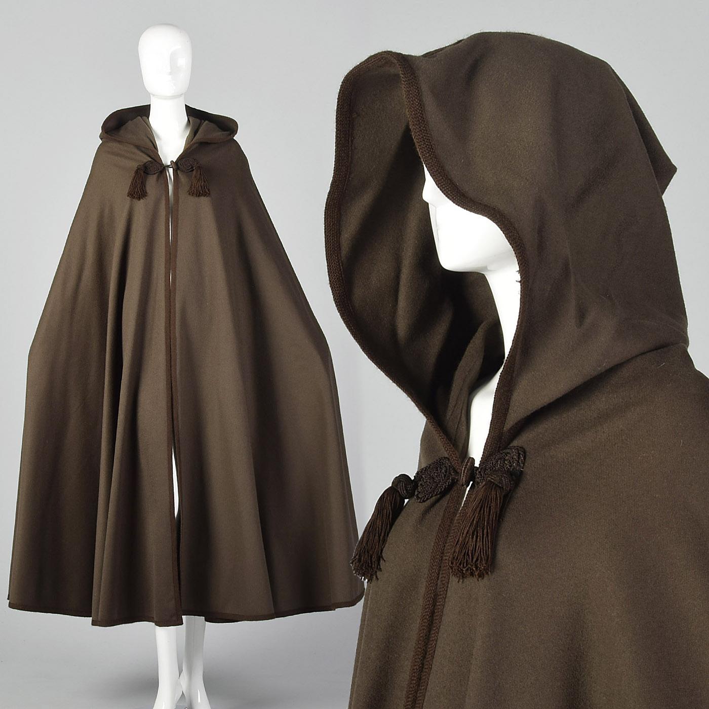 25781d54a1f Details about 1970s Yves Saint Laurent Winter Cape Russian Collection 1976  VTG Brown Cloak