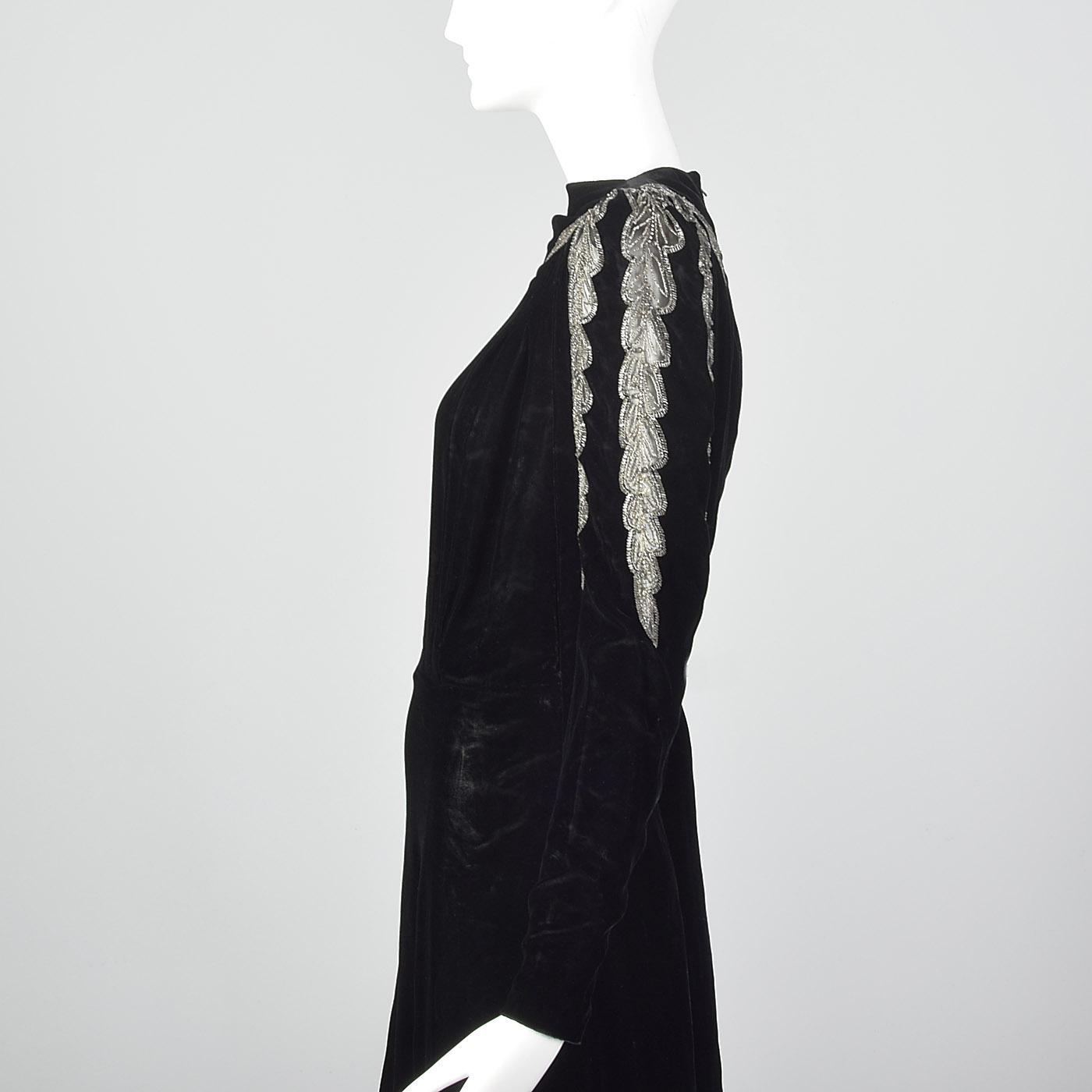 L 1940s Black Velvet Dress Sheer Sleeve Design Cocktail Evening Formal LBD 40s   eBay