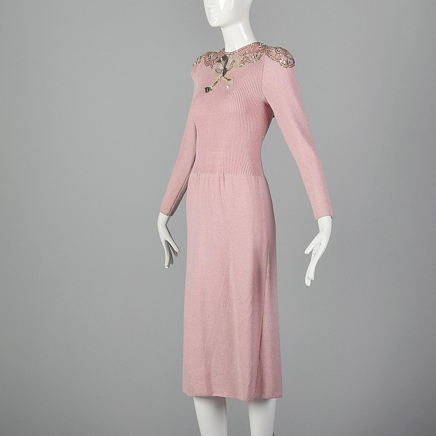 4975b61a Medium Pat Sandler 1980s Knit Dress Sweater Dress VTG 80s Beaded Sequin Pink