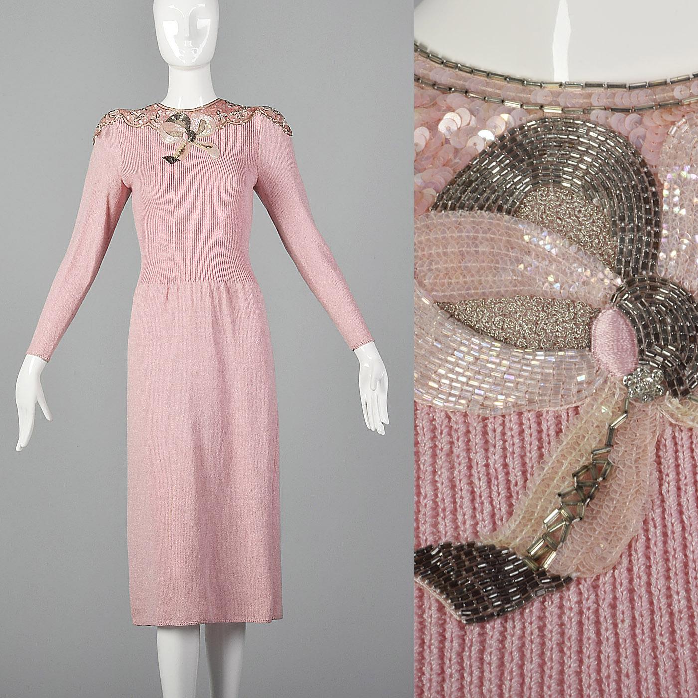e99c4e7c Details about Medium Pat Sandler 1980s Knit Dress Sweater Dress VTG 80s  Beaded Sequin Pink