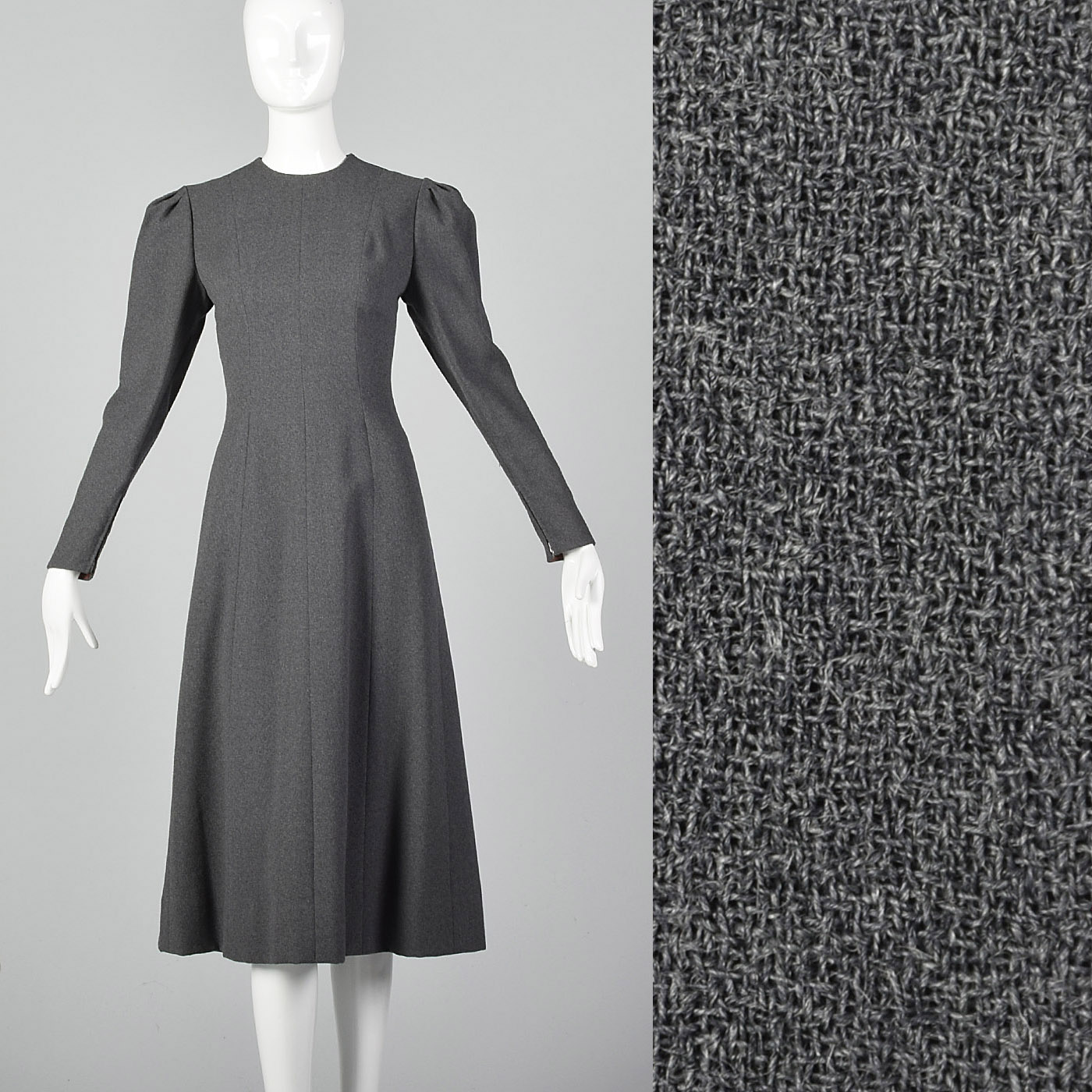 6988951ad0bd Details about S 1970s Pauline Trigere Gray Wool Crepe Dress Long Sleeves  Classic Minimalist