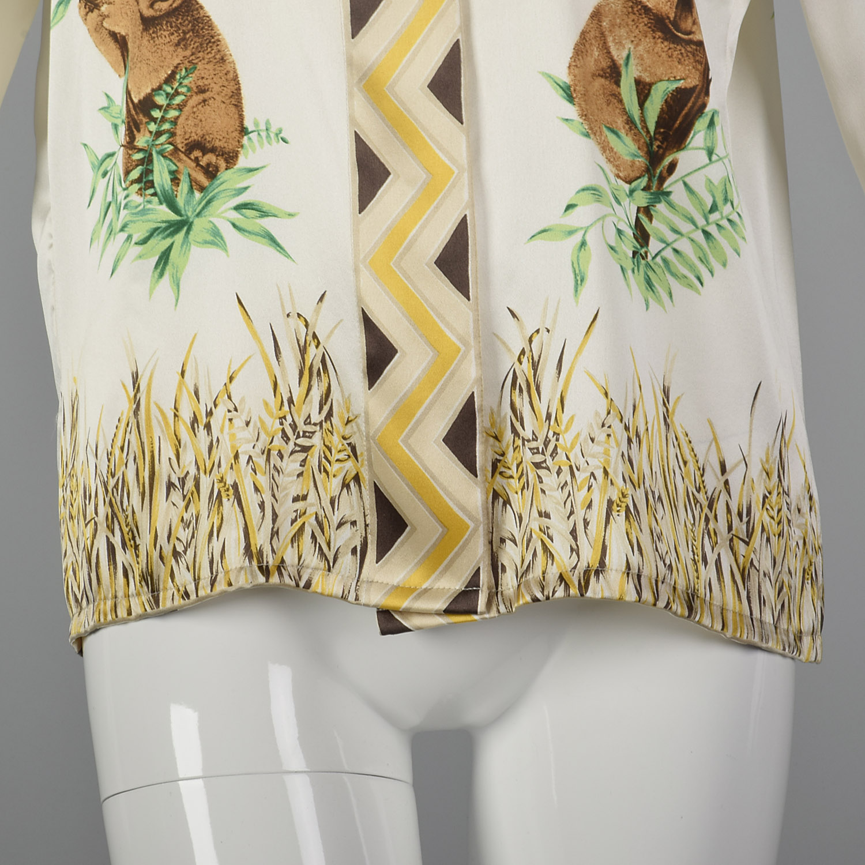 c5f99083bd391 Large Escada 1980s Silk Koala Print Blouse Vintage Novelty Print Shirt Silk  Top