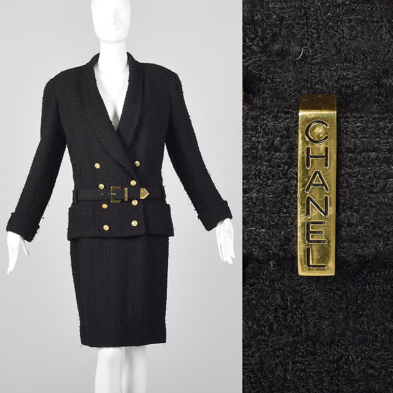 ca7e3bc70d60 Details about Small Chanel 1980s Black Boucle Skirt Suit Vintage Chanel  Boutique 80s Designer