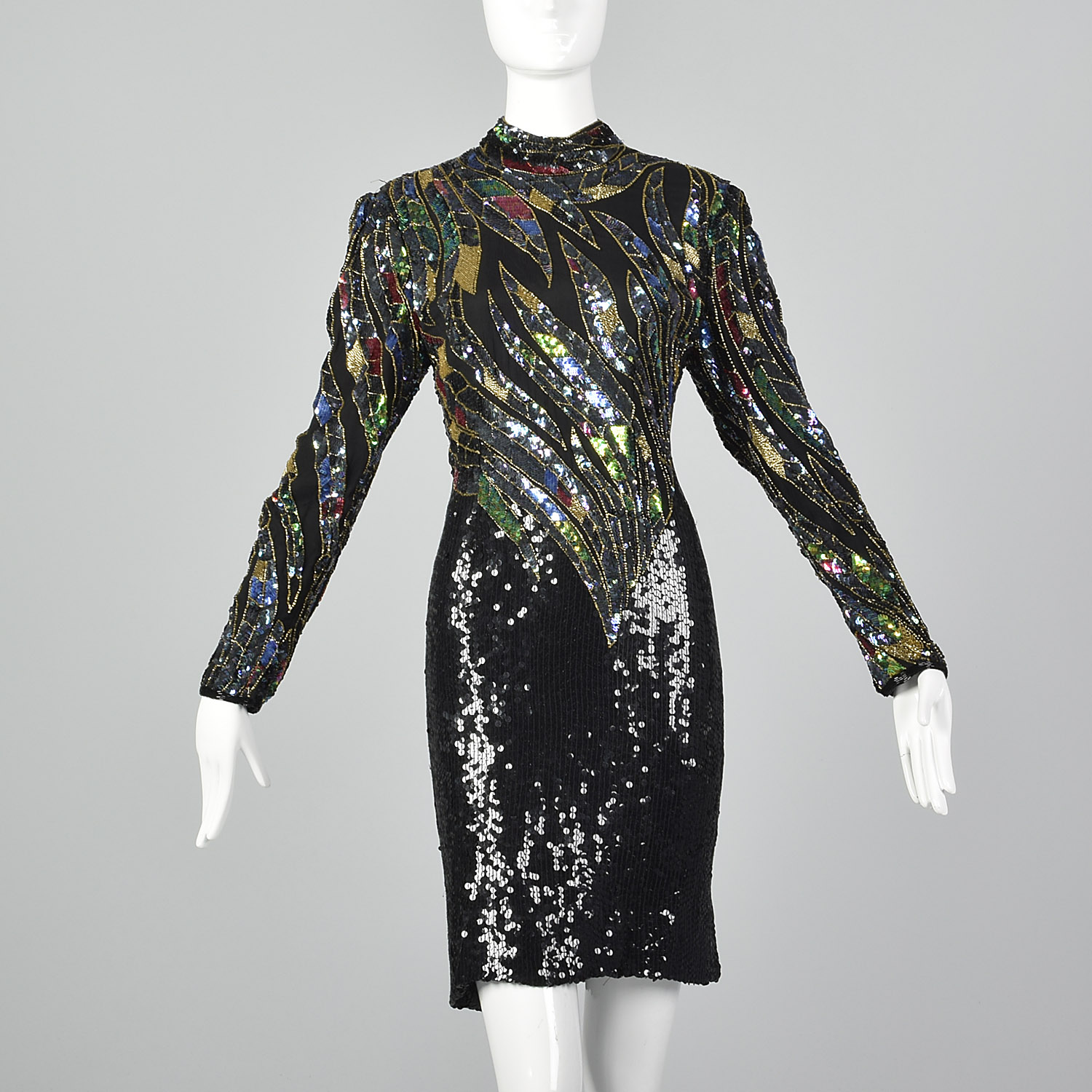 Party Cocktail Evening Club Office xs small medium SALE Vintage 1990s Sheer Sequined Kimono Sleeve Batwing Black Blouse