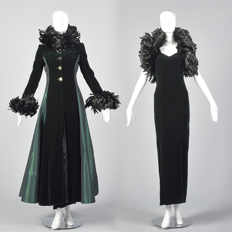 23be5fd538c Details about XXS 1970s Two Piece Holiday Dress Vintage Set Opera Coat Maxi  Taffeta Velvet