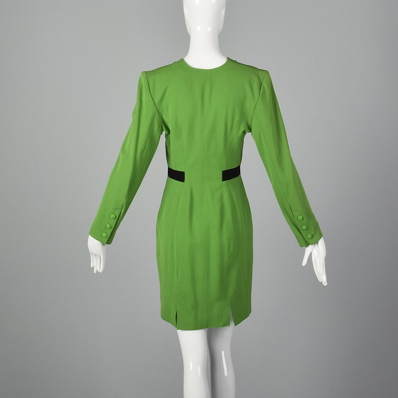 Waist 20 to 38 Medium to Large Bust 38 Strait Lane 1980/'s Vintage Green Day Dress