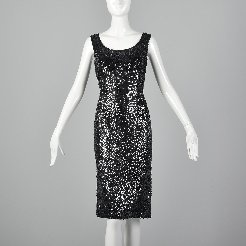 Vintage 1960s Black Sequins Dress