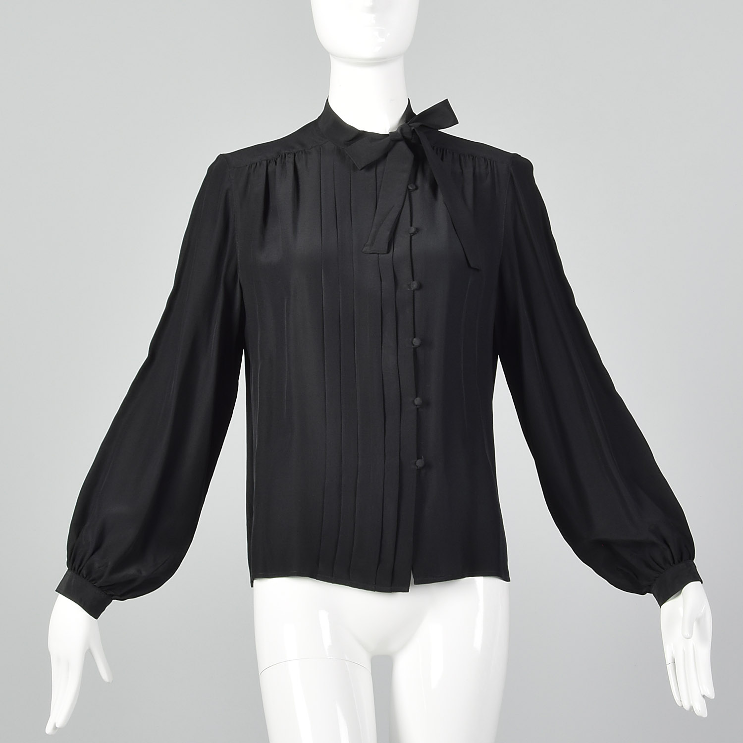 ba916b36db53a7 Details about Small 1980s Christian Dior Separates Silk Blouse 1970s Vintage  Shirt Black Top