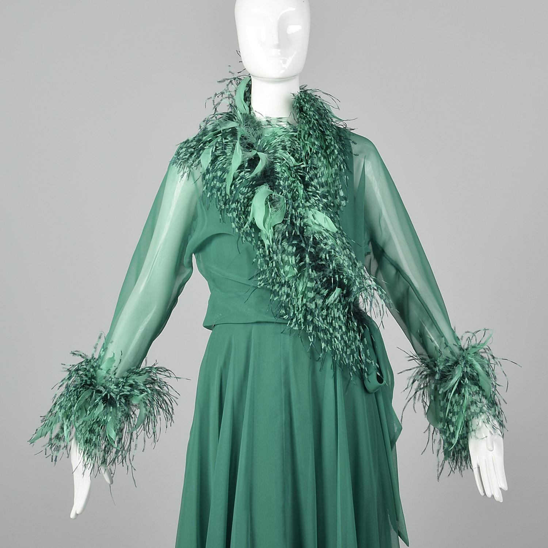 Feather Dressing Gown: Medium Adele Simpson Elizabeth Arden 1970s Gown Vintage