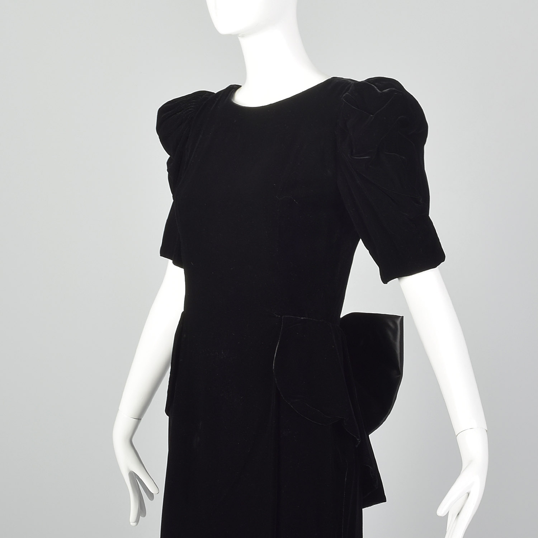 Vintage Blouse Black Velvet Strapless Peplum Avon Fashions size Small