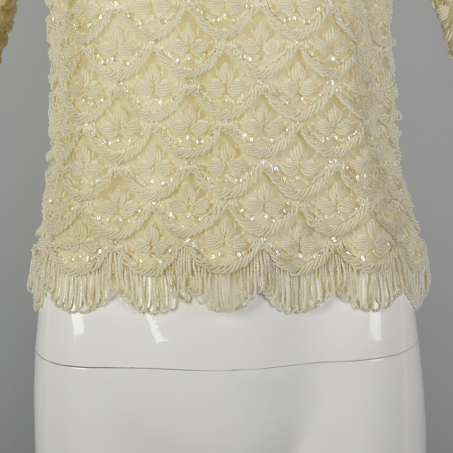 XXS 1960s Beaded Blouse in Ivory Vintage Beaded Top 60s Beaded Blouse Wedding Blouse Extra Small Wedding Top