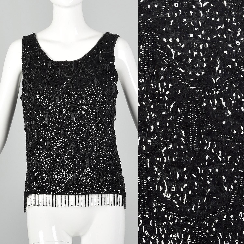Vtg Gold Beaded Evening Top  60s Embellished Knit Blouse