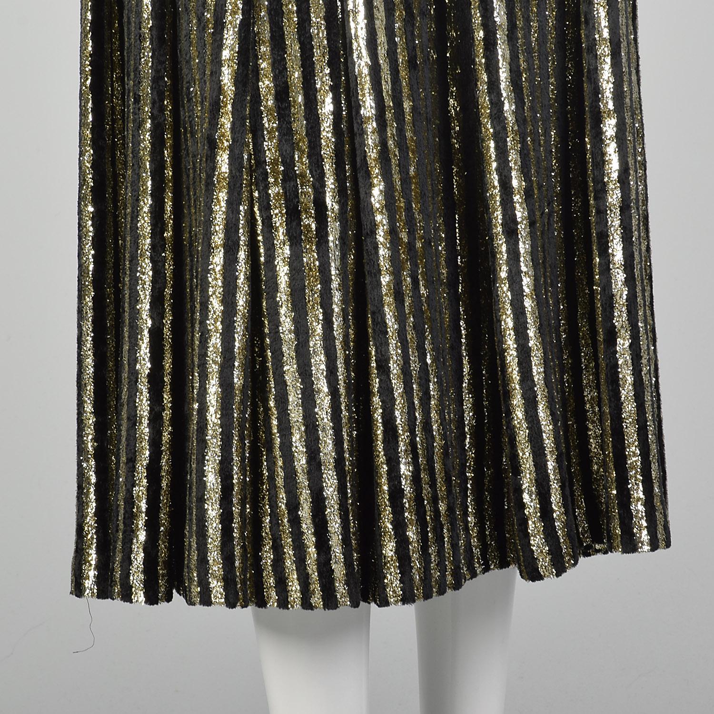 Women/'s 80\u2019s Caroline Charles London Designer vintage maxi Skirt Gold Colorful Paisley Metallic Party Skirt 29 Waist Neiman Marcus