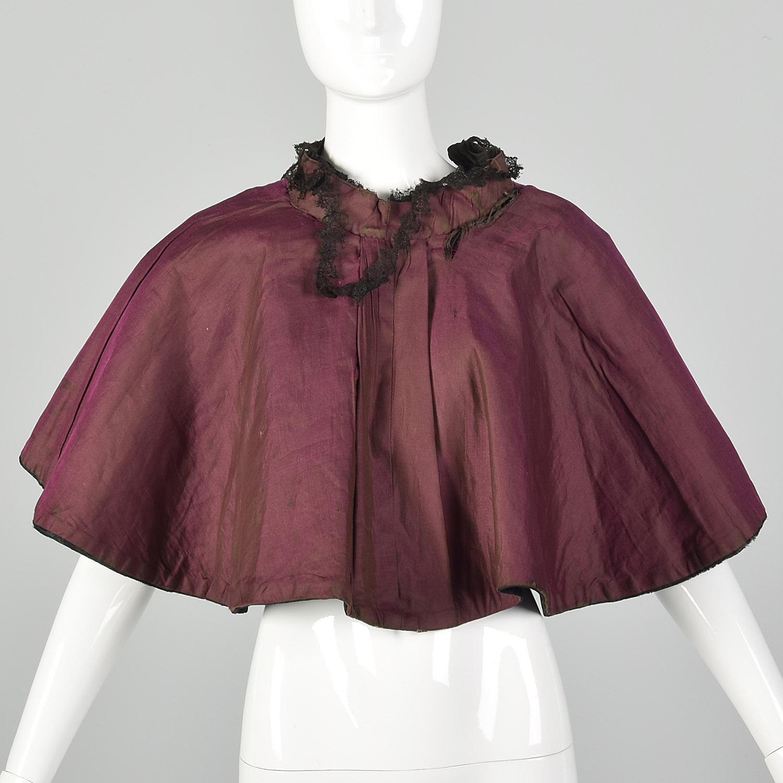 Victorian velvet mourning Cape antique Cape silk lined black velvet crochet and bow