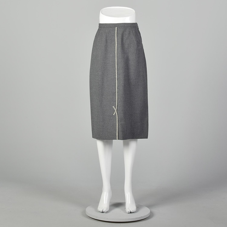 Vintage 1950s Pink Wool Straight Pencil Skirt