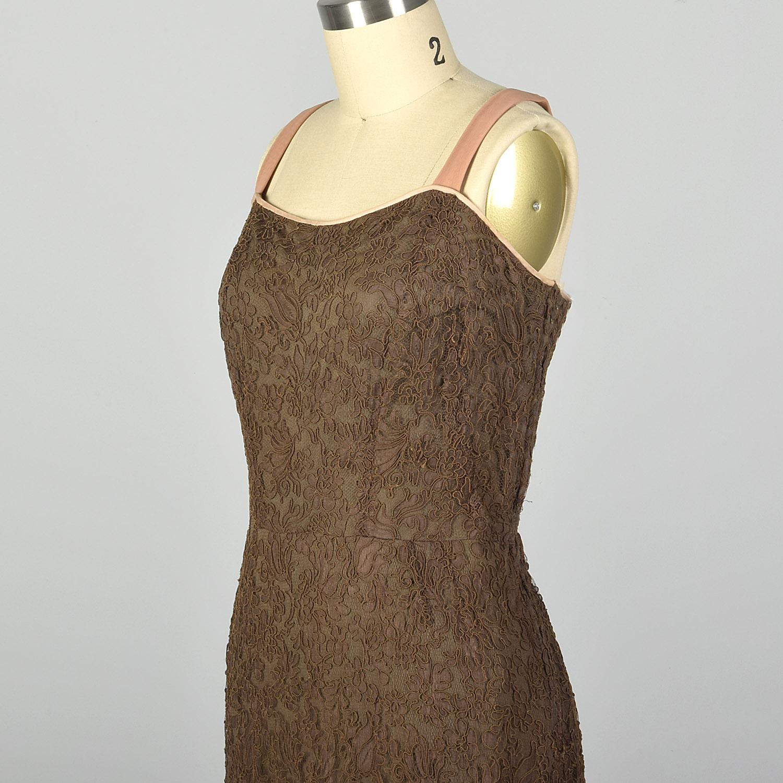 Vintage Floral and Stripes Dress  Brown Fall Dress  Size M L