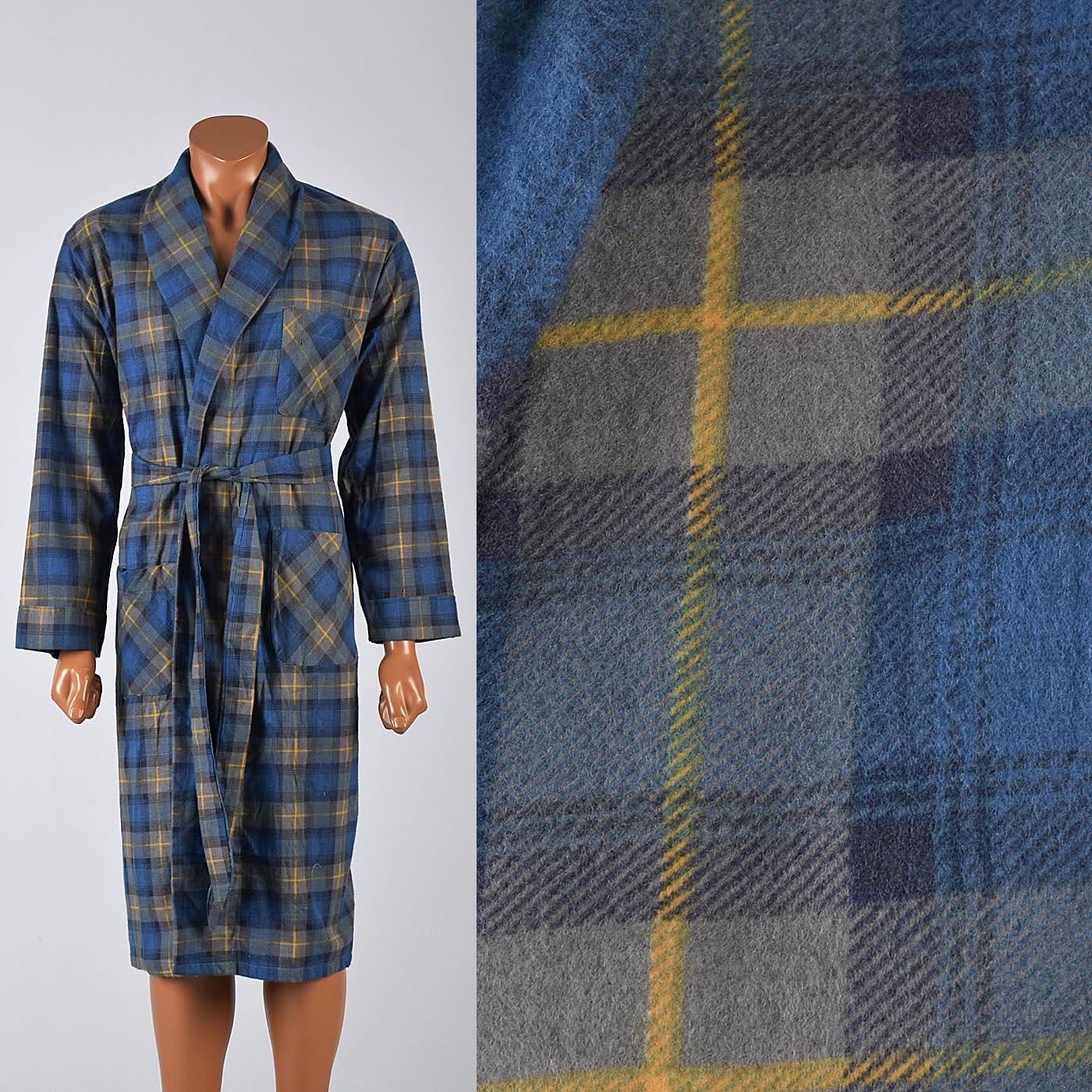 4fc1c477bbd3 Details about M Vintage Deadstock 1960s 60s Mens Robe Cotton Flannel Blue  Green Plaid Lounge