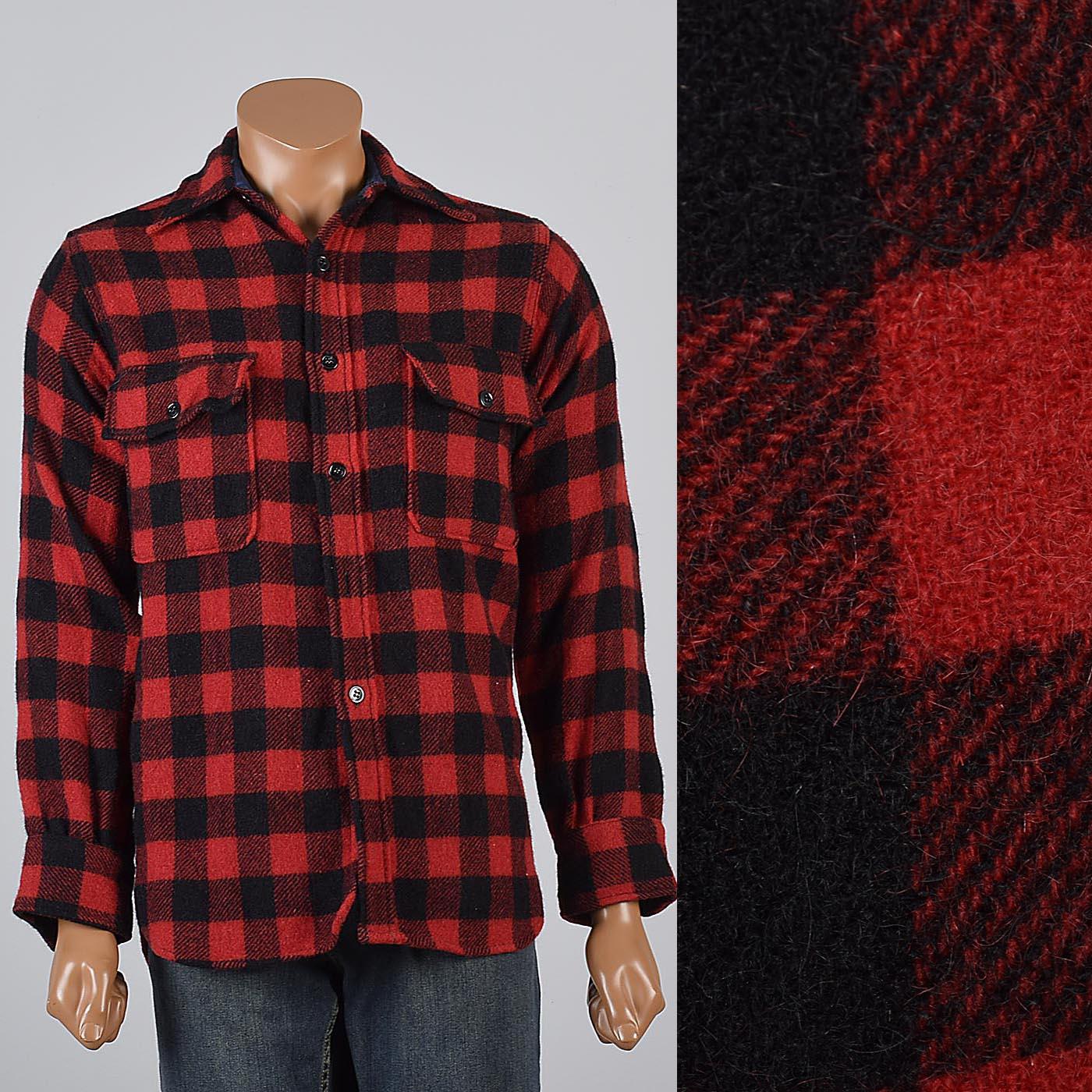 Vintage Plaid Hunting Shirt Women/'s Medium Red Black Plaid Button up Shirt Hunting Club Wool Plaid Button Up Vintage Wool Flannel Shirt