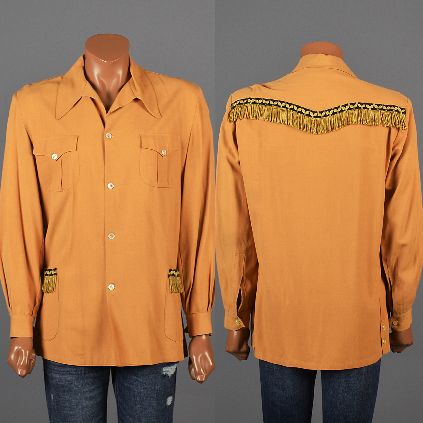 Large 1950s mens rayon shirt western fringe jacket for Mens shirt with tassels