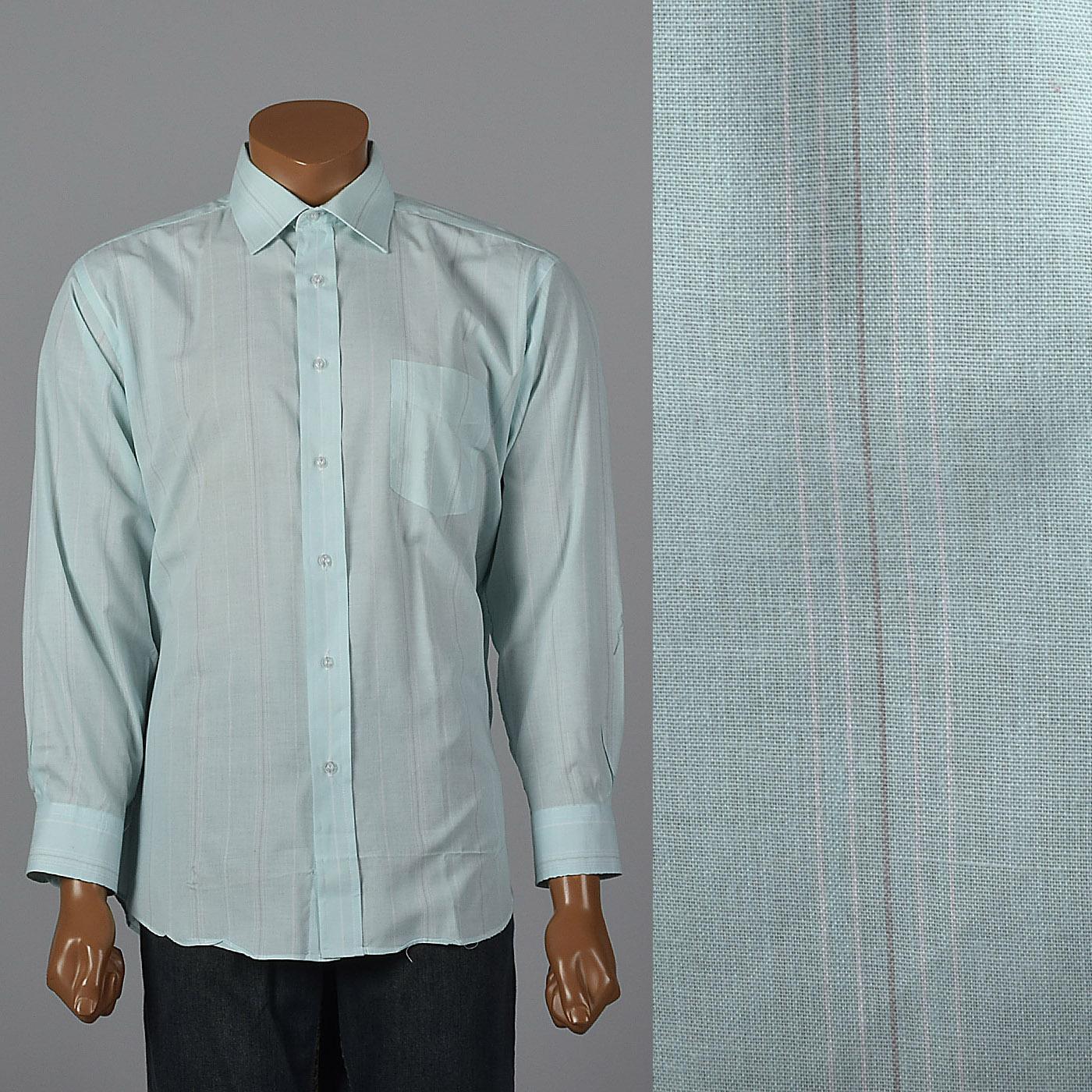 b56a17133 Details about XL Vintage 1990s 90s Aqua Striped Dress Shirt Easter Summer  Chest Stripes Pocket