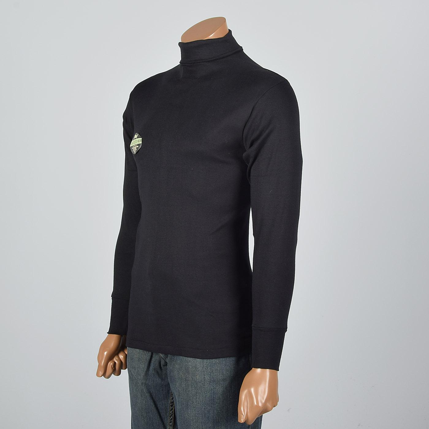 Nos Vtg 1960s Mens Tight Black Loopwheel Turtleneck Long Sleeve