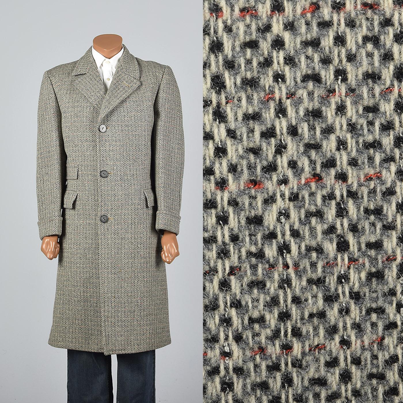 41r 1950s Mens Tweed Coat Wool Winter Overcoat Rockabilly Midcentury